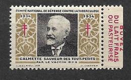 """Vignette Pub Buvez Du Lait   """"contre La Tuberculose""""1934 Calmette Vaccin BCG Neuf * * B/ TB Le Moins Cher Du Site ! - Tegen Tuberculose"""