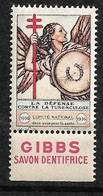 """Vignette Publicité Gibbs Savon """"contre La Tuberculose"""" 1936 Comité National Neuf * * B/ TB     Le Moins Cher Du Site ! - Tegen Tuberculose"""
