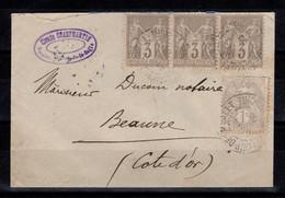 Affranchissement Mixte Sage / Blanc De 1906 Avec YV 87 En Bande De 3 & YV 107 , Lettre Au Tarif De 10 Centimes - 1877-1920: Semi-moderne Periode