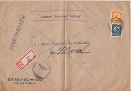 DP Ostland - 50+4 Pfg. Hkr.-Dienst Einschreibebrief Riga - Minsk 1944 - Ocupación 1938 – 45