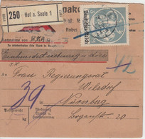 DR-Infla - 3 M. By-Abschied/DR Nachnahme Paketkarte Hof - Nürnberg 1920 - Covers & Documents
