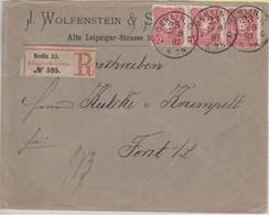 DR - 10 Pfg. 3er-Streifen Einschreibebrief Berlin C23 - Forst 1887 - KBHW 493 !! - Covers & Documents