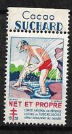 """Vignette Publicité Cacao  Suchard """"contre La Tuberculose"""" 1938 Comité National Neuf * * B/ TB  Le Moins Cher Du Site ! - Tegen Tuberculose"""