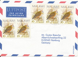 Malawi Air Mail Cover Sent To Germany BIRD Stamps - Malawi (1964-...)