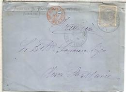 ALFONSO XII CABEZA DEL BUY BADAJOZ A OLORON 1880 MAT TREBOL MAT TRANSITO CAMBIO AMBULANT ETC - Cartas