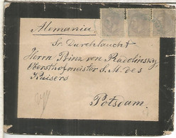ALFONSO XII CARTA DE LUTO ESCORIAL A POTSDAM TRIPLE FRANQUEO MAT AZUL - Cartas