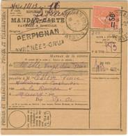 50c/85c SEMEUSE LIGNEE TARIF MANDAT CARTE TAXE DE FACTAGE A DOMICILE PERPIGNAN 22/02/27 - PEU COMMUN - 1921-1960: Periodo Moderno