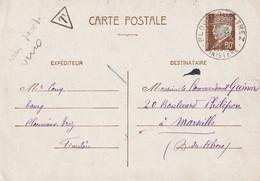 Entier Postal Pétain Taxe Suite Chg Tarif 1942 De Plouneour Trez  Finistere. Texte Intéressant En Breton. Risque Censure - Guerra De 1939-45