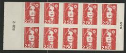 CARNET MARIANNE DE BRIAT 10 TP à 2,50 Fr Rouge N° 2720-C1 Cote 15 € Vendu à La Valeur Faciale 25 Fr = 3,80 € - Uso Corrente