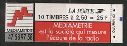 CARNET MARIANNE DE BRIAT 10 TP à 2,50 Fr Rouge N° 2720-C3 Cote 12 € Vendu à La Valeur Faciale 25 Fr = 3,80 € - Uso Corrente