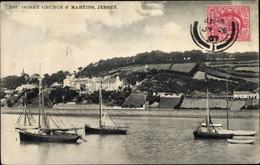 CPA Gorey Saint Martin Jersey Kanalinseln, Panorama, Segelboote - Other