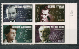 USA Scott # 3909a         2005 American Scientists Block Of 4 37c  Mint NH  (MNH) - Neufs
