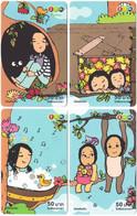 THAILAND G-514 Prepaid 1-2-Call - Cartoon, People, Children - 4 Pieces - Used - Thaïland
