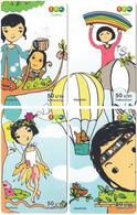 THAILAND G-586 Prepaid 1-2-Call - Cartoon, People, Children - 4 Pieces - Used - Thaïland