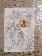 (T3) L' Arrivée Des Rois Mages Près De La Crèche Dessiné Au Crayon Fin Noir Et Couleurs Par JA (initiales De L'illust.) - Other Illustrators