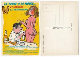 CARTE HUMORISTIQUE ANCIENNE, LA PECHE A LA MOULE, 3° LA PREPARATION - Humour