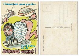 CARTE HUMORISTIQUE ANCIENNE, LES PETITS REMEDES, EN DE BONNES MAINS - Humour