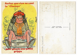 CARTE HUMORISTIQUE ANCIENNE, LES PETITS REMEDES, LA CHALEUR DE LA GRIPPE - Humour