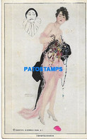 149242 ART ARTE SIGNED RAPHAEL KIRCHNER WOMAN & FACE HARLEQUIN COVETOUSNESS POSTAL POSTCARD - Unclassified