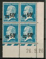 BLOC De 4 TIMBRES Avec COIN DATÉ Au TYPE PASTEUR N° 222 NEUF * ET ** (VARIÉTÉ DE SURCHARGE DÉCALÉE VERS LE HAUT) 1926 - ....-1929