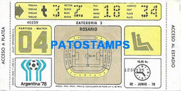 149263 ARGENTINA ROSARIO SPORTS FUTBOL SOCCER MUNDIAL 1978 PARTIDO MATCH 04 HUNGARY TICKET ENTRADA NO POSTAL POSTCARD - Zonder Classificatie