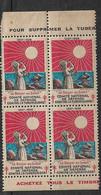 """Vignette  """"contre La Tuberculose"""" 1927-1928 Le Baiser Au Soleil Bloc De 4 Neufs * * B/ TB    Le Moins Cher Du Site ! ! ! - Tegen Tuberculose"""