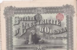 Société D Electricité D'ODESSA  . ACTION Au Capital De 100 Francs (+ 24 Coupons)  . BRUXELLES 1913 - Elektrizität & Gas