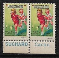 """Vignettes Pub Suchard Cacao  """"contre La Tuberculose"""" 1933 Jeux Et Santé  Neufs * * B/ TB    Le Moins Cher Du Site ! ! ! - Tegen Tuberculose"""