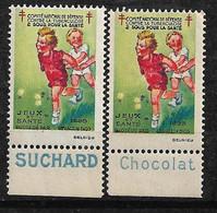 """Vignettes Pub Suchard Chocolat  """"contre La Tuberculose"""" 1933 Jeux Et Santé  Neufs * * B/ TB  Le Moins Cher Du Site ! ! ! - Tegen Tuberculose"""