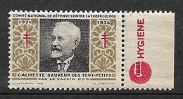 "Vignettes Pub Gibbs Hygiène  ""contre La Tuberculose"" 1934 Calmette BCG  Neuf * * B/ TB  Le Moins Cher Du Site ! ! ! - Tegen Tuberculose"