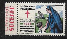 """Vignettes Pub Chocolat Suchard """"contre La Tuberculose"""" 1935Prévenir Pour Vivre Neuf * * B/ TB  Le Moins Cher Du Site ! ! - Antitubercolosi"""