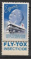 """Vignette Pub Fly-Tox Insecticide  """"contre La Tuberculose"""" 1939 Espoir  Neuf * * B/ TB  Le Moins Cher Du Site !! - Tegen Tuberculose"""