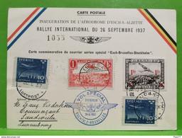 Carte Postale, Inauguration De L'aérodrome D'esch Alzette, Rallye International 1937, Vol Spécial - Postwaardestukken