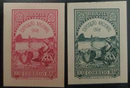 O) 1908 BRAZIL DIE PROOF, ALLEGORICAL EMBLEMS LIBERTY PEACE 100  Reales . AMERICA N BANK NOTE - Unused Stamps