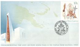 (Z 15) Papua New Guinea - Pre-paid FDC - 2 Covers - 1987 - 1984 (Papal Visit & Ausipex) - Papúa Nueva Guinea