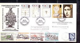 UK: FESTINIOG RAILWAY COMMEMORATIVE COVER, MIXED GB AND LOCAL FRANKAGE - Briefe U. Dokumente