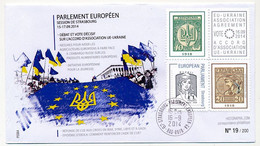 "FRANCE - Env Affr Ciappa écopli Sur Bloc Porte Timbres ""Accord Association UE -  Ukraine"" -16/9/2014 - Strasbourg ... - 2013-... Marianne Di Ciappa-Kawena"