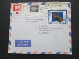 Israel 1966 Air Mail Luftpostbrief Haifa - München Marken Mit Oberrand / Eckrandstücke - Covers & Documents