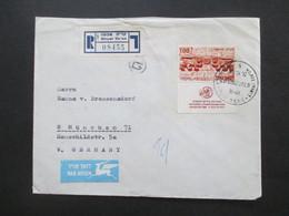 Israel 1968 Air Mail Luftpostbrief Einschreiben Qiryat Tiv'on - München Marke Vom Unterrand! Rückseitig 2 Stempel. - Covers & Documents