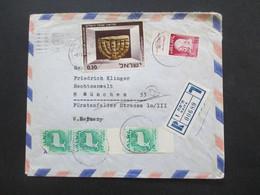 Israel 1967 Air Mail Luftpostbrief Einschreiben Haifa - München Marke Vom Rand! Rückseitig 2 Stempel. Dr. O. Robinson Ad - Covers & Documents