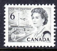 CANADA - 1970 QEII 6c BLACK DEFINITIVE STAMP PERF 12½ X 12 FINE MNH ** SG 607 - Nuovi