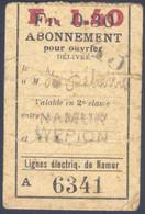 Belgique, Chemin De Fer, Abonnement Pour  Ouvrier - Europa