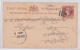 East India Post Card Postal Stationery Dhule To Shirpoor Shirpur Entier Inde - 1882-1901 Impero