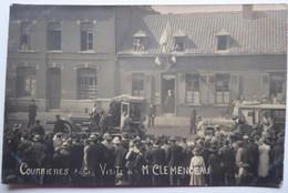 COURRIERES (P.d.C.) Visite De M CLEMENCEAU - Rare CPA Phot 1919 - Andere Gemeenten