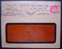 Société Drapière D'Elbeuf 1935, Enveloppe Avec Timbre Perforé (perfin) + Oblitération Mécanique - 1921-1960: Periodo Moderno