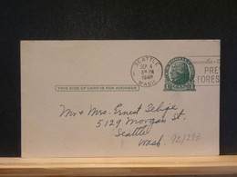 92/293   POSTAL CARD USA VERSO PIQUAGE PRIVE - 1941-60