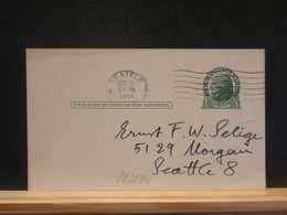 92/294   POSTAL CARD USA VERSO PIQUAGE PRIVE - 1941-60