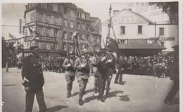 Granville Carte Photo  Rare Cours Jonville   Garde Militaire   Drapeau   Foule Cérémonie      Peu Courante - Granville