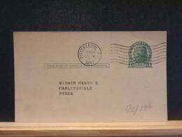 92/297   POSTAL CARD USA VERSO PIQUAGE PRIVE  1941 - 1941-60