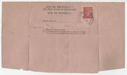 514 Pétain Seul Tarif 1F Recommandé Avis De Réception ( Fragment ) Roubaix Fosse Aux Chênes 1941 - Posttarieven